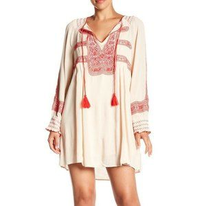 FREE PEOPLE WIND WILLOW Embroidered Boho Dress L